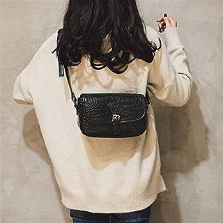 Fashion Single-Shoulder Bags Crocodile Texture Belt Buckle PU Leather Single Shoulder Bag Ladies Handbag Messenger Bag (Black) (Color : Black)