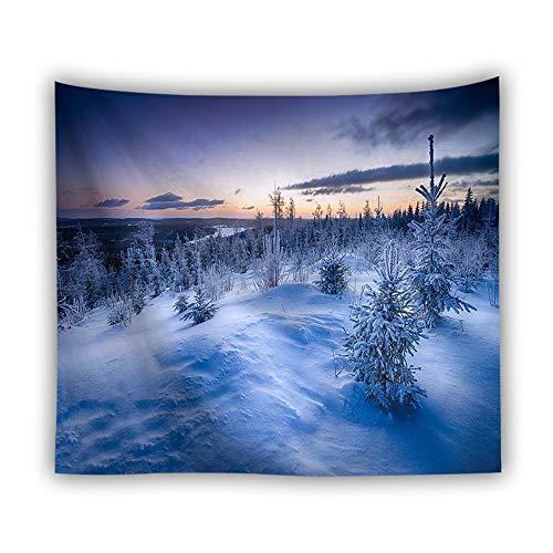 DROMEZ Invierno Tapiz de Pared,Mural Puesta De Sol Paisaje De Nieve Naturaleza Montañas Fotomural Decorativo,Tapestry Decoración de Pared para Dormitorio Sala de Estar,E,130 * 150