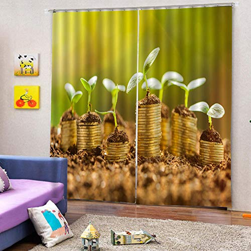 zpangg Black Out Window Cover Green Plant Blackout For Children Bedroom Eyelet Thermal Insulated Room Darkening Curtains For Nursery Living Room Bedroom 220×215Cm