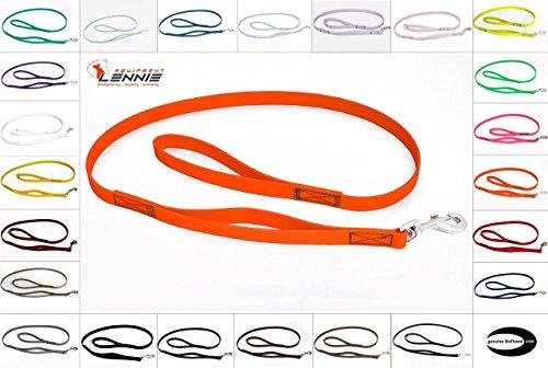 LENNIE BioThane Führleine mit integriertem Kurzführer, 9mm breit, 1,3m lang, Neon-Orange, genäht