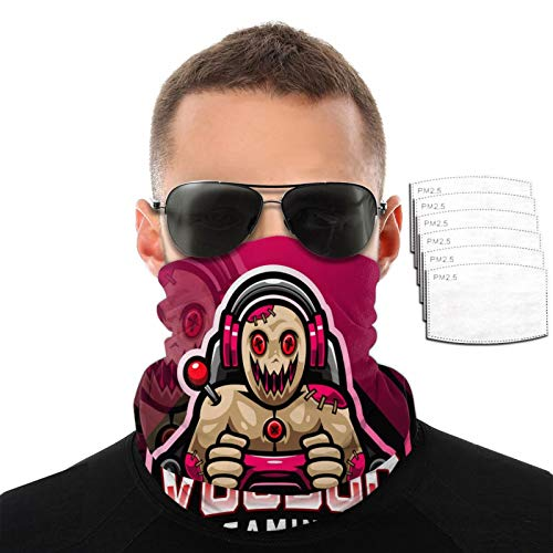 ZZFENG Voodoo Game Mascot Neck Gaiter Mouth Cover Bandana with 6activated Carbon Filters Piece