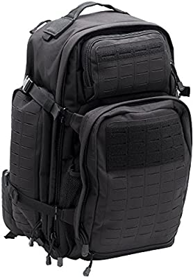 LA Police Gear Atlas 72H MOLLE Tactical Backpack for Hiking, Rucksack, Bug Out, or Hunting-Black