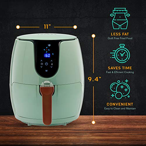 SOLARA Digital Air Fryer for Home Kitchen with 6 Pre set modes for Indian cooking   Deep Fryer without oil, Non Stick Fry Basket + Auto Shut off Feature   100+ recipe eBook and Videos