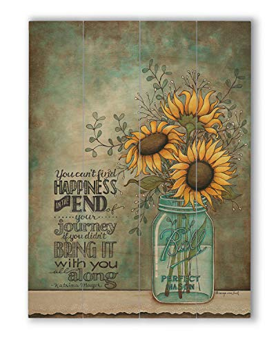 "wallsthatspeak Happy Wall Quote, Wood Pallet Decor, Rustic Farmhouse Flower Print (12"" x 16"")"