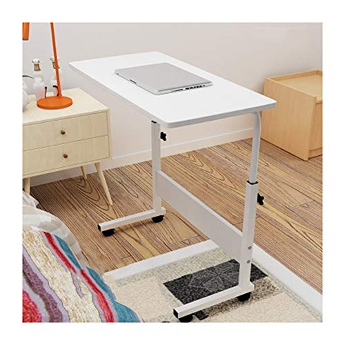 AFSDF Mobile Laptop Table Sofa Side Laptop Notebook Desk PC Stand Height Adjustable, Days Overbed Table Mobile Laptop Desk Cart (Color : White, Size : 60x40cm)