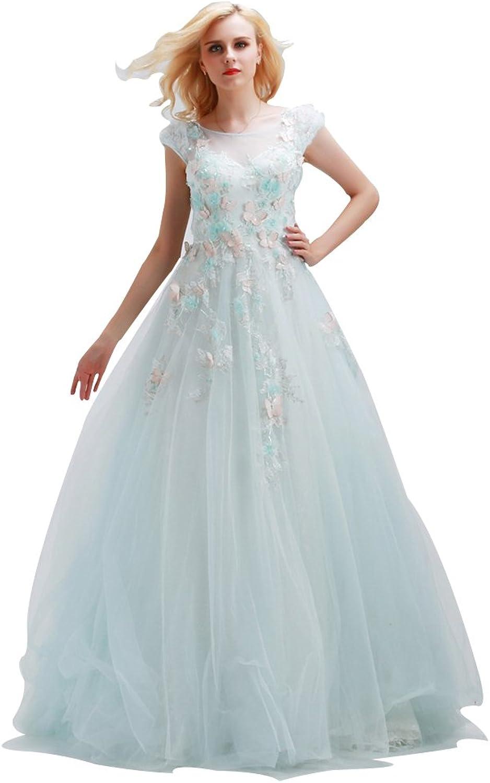 JoyVany Vintage Wedding Dress with Appliques Cap Sleeve Long Dresses for Wedding