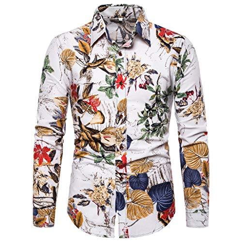 Chemise Chemise Homme,FNKDOR Hommes T-Shirts Coloré Fleur imprimé Casual Coupe Droite Manches Longues Blouse Tops(B Blanc,L)