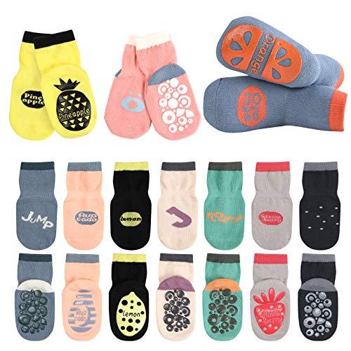 Oalyip Calcetines para Bebé Niño y Niña Agarre Antideslizante Tobillo Unisex Baby Socks 10 Pares Bebé ReciénLindo Calcetines de Algodón Bebé (S para 0-12 Meses, M para 1-3 Años, L para 3-6 Años)