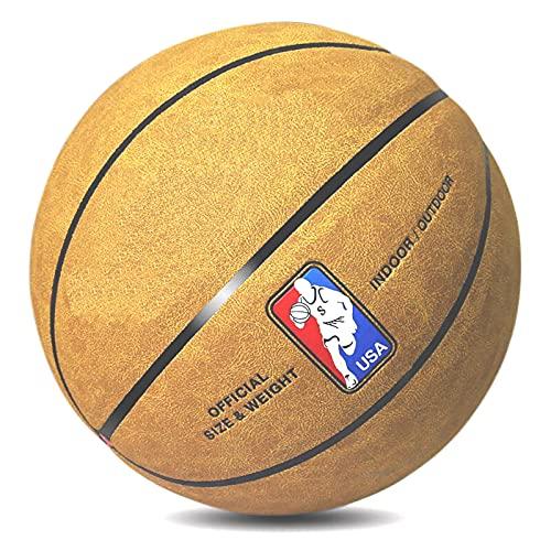 SHENGY Pallone da Basket n. 7, Pelle Scamosciata Opaca, utilizzato per allenamenti e Gare Indoor e Outdoor, Il miglior Regalo per Bambini, Pompa, ago per Palla, Rete (4 Colori),Brown Yellow
