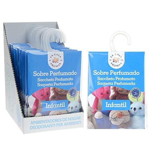 Set de 12 Sobres Perfumados, Bolsitas Aromáticas Aroma Infantil, Saquitos para el Armario, Cajón, Ropa de Bebé, Zapatero, Maleta