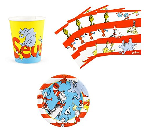 Dr Seuss Cat in The Hat Birthday Party Supplies Set Plates Napkins Cups Kit for 16