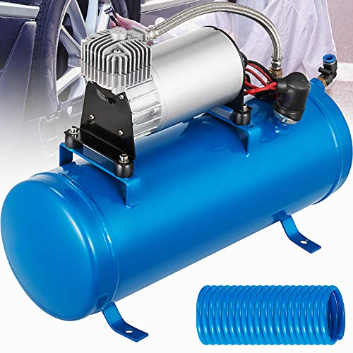 Bestauto 12V Air Compressor with Tank 150PSI Air Car Compressor Portable Tire Inflator with 6 Liter Tank 1.6 Gallon for Train Horns Motorhome Tires