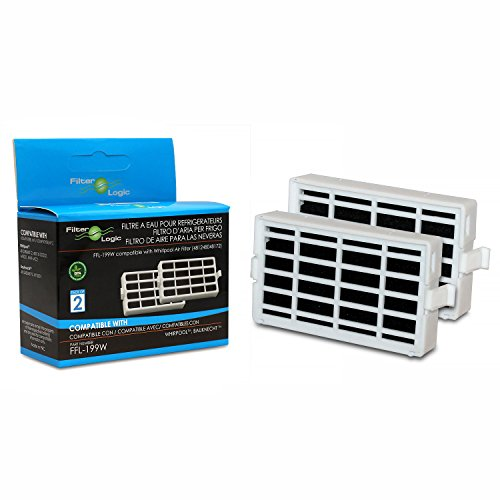 FilterLogic | Paquete de 2 - Filtro antibacteriano para el frigorífico Whirlpool, Indesit, KitchenAid, Hotpoint - compatible con el sistema aire sano Microban ANT001, ANT-001, ANTF-MIC, 481248048172