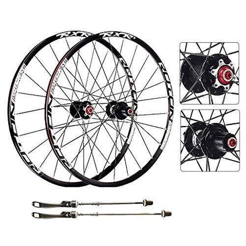 AIFCX Bicicleta de Ruedas, 27.5 Pulgadas MTB de Doble Pared de Ciclismo Ruedas de liberación rápida Disco de Freno 24 Orificios del Borde Compatible Velocidad 8 9 10 11,Black-27.5inch