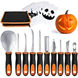 Professional Pumpkin Carving Kit, Upgrade Anti-Slip Rubber Handle 10 Pcs Pumpkin Carving Tools Set with Zipper Bag and 6 Pcs Carving Templates for Halloween Jack-O-Lanterns