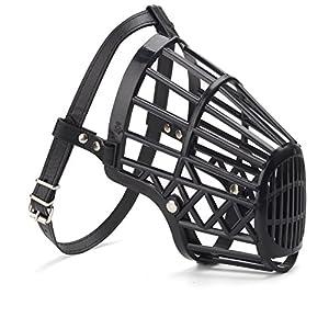 styleinside® Muselière Tour de Bouche Ajustable en Plastique Corde Cuir Simili pour Chien Taille 1