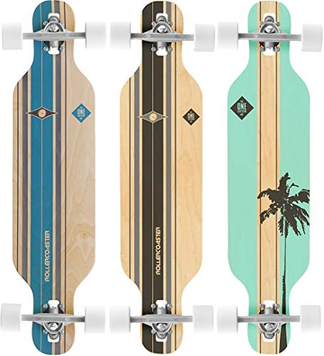 RollerCoaster Palms + Stripes The ONE Edition Drop Through Longboard, Stripes Black