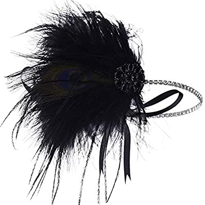 BABEYOND 1920s Flapper Headband Roaring 20s Headpiece Gatsby Ostrich Feather Headpiece with Crystal