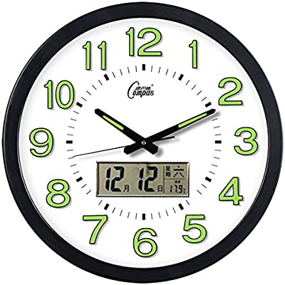 Jedfild Wall clock quiet modern simple European creative personality 16-inch luminous LCD radio clock