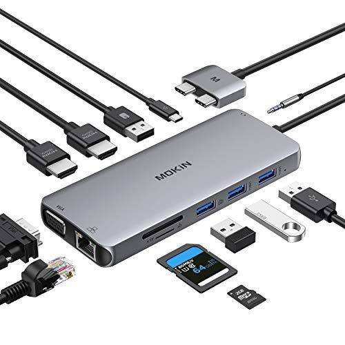 MOKiN USB C Docking Station 12 in 2 USB C Adapter mit Dual HDMI 4K@60hz, VGA, unterstützt MST/SST, 2*USB 3.0/2.0, Gbps Ethernet, 100W PD, SD/TF Kartenleser, 3.5mm Audio für MacBook Pro/Air 2020/2019