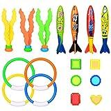 17 Stück Tauchen Spielzeug, Tauchspielzeug Unterwasser Schwimmbad Spielzeug Set Ringe Algen Toypedo...