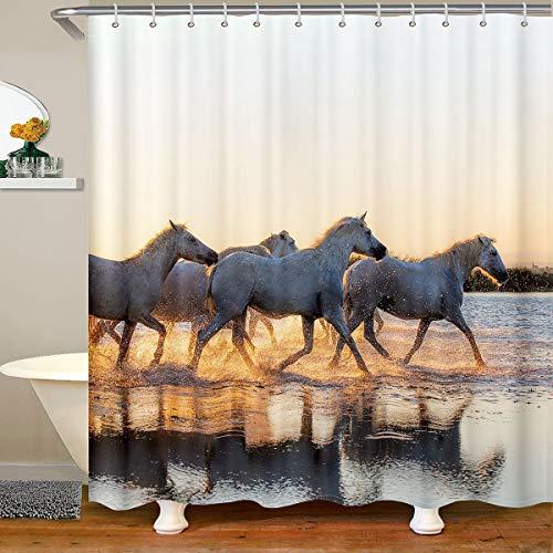 Cortina de ducha blanca de tela de caballo, cortina de ducha de caballos, para niños y niñas, 3D, diseño de animales salvajes, impermeables, con ganchos, 180 x 200 cm