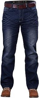 Crosshatch Mens New Farrow Regular Straight Leg Denim Jeans With Belt