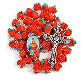 Collar Cruz de la Flor Rosada roja del Rosario de Fátima Polímero Cuenta del Rosario para Mujeres Regalos para Mujeres