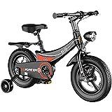 WYYY Bicicleta 12'14' 16'18' Muchacho De 18'Equipado con 2 Frenos, Cesta Delantera, Portador De Muñecas, Guardias De Barro Y Estabilizadores, Rojo/Negro/Rosa(Size:14Inch,Color:Negro)