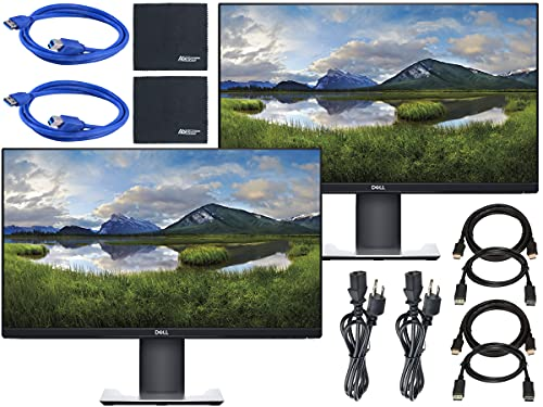 """Dell P2419H 24"""" 16:9 Ultrathin Bezel IPS Monitor + Display Port Cable + HDMI Cable + USB 3.0 Cable + AOM Microfiber Cleaning Cloth Monitor Bundle - 2 Pack"""