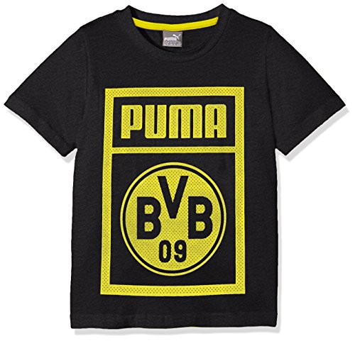 PUMA Kinder BVB Shoe Tag Tee Jr T-Shirt, Dark Gray Heather, 128
