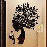 ABCBCA Bloom Multi-Pieces Flower Modelo Modelo 3D Acrílico Decoración Etiqueta Etiqueta de Pared DIY Cartel de la Pared Boda Decoración del hogar Dormitorio Web Wallstick (Color : Right Black)