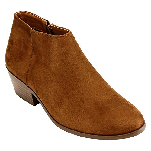 SODA Mug Cognac Women's Western Ankle Bootie w Low Chunky Block Stacked Heel -6