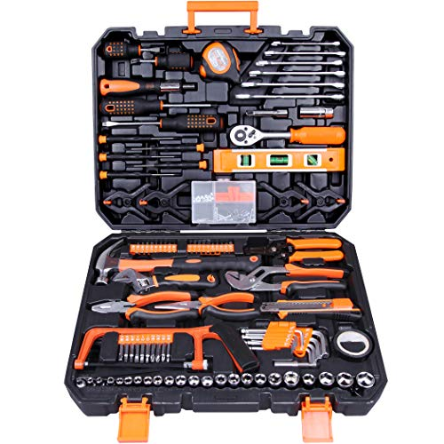 CARTMAN Tool Set 168Pcs Orange General Household Hand Tool Kit with Plastic Toolbox Electricians Tools in Storage Case