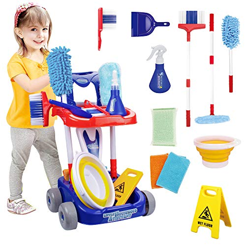 UNIH 12 Pieces of Kids Cleaning Set, Cleaning Stroller Toy, Detachable Toy Cleaning Kit - Housekeeping Toys for 3 4 5 6 7 8 Year Old Toddler Boys and Girls