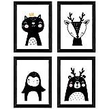 Nacnic Set de 4 láminas 'Ciervo, oso polar, pinguino y gato'. Posters de animales. Tamaño A3 sin marco