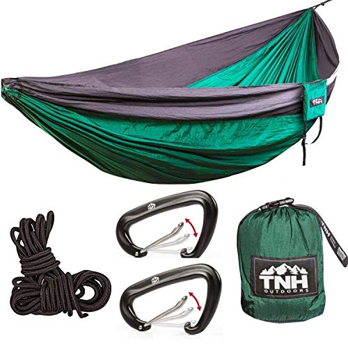 Rakaia Designs (TNH Outdoors) Double & Single Camping Hammocks - Lightweight Nylon Portable Hammock, Best Parachute Hammock For Backpacking, Camping, Travel, Beach & The Yard With FREE Steel Carabiner