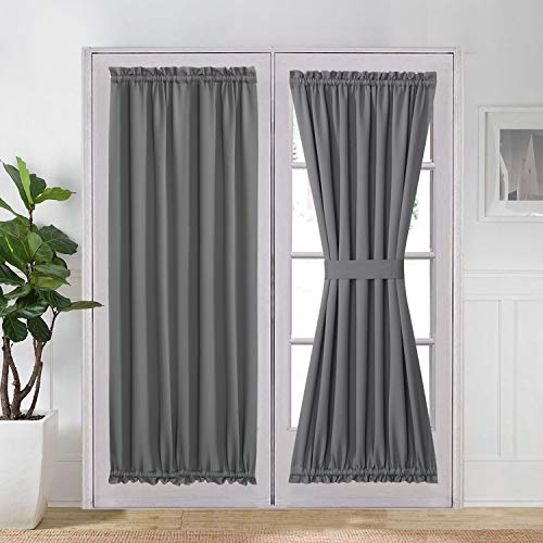 your zone home patio curtains Aquazolax Noise Reducing Solid Blackout Patio Door Curtain Panel, 1 Piece, 54 by 72-Inch, Light Grey