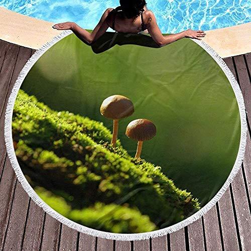 Nazi Mie Pilze auf dem Moos-runden Badetuch-umfassenden Picknick-Teppich