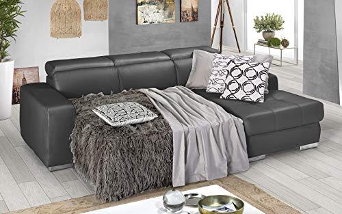 Dafne Italian Design Sofá cama esquinero de 3 plazas con chaise longue a la derecha. Polipiel Grey (259 x 178 x 94 cm)