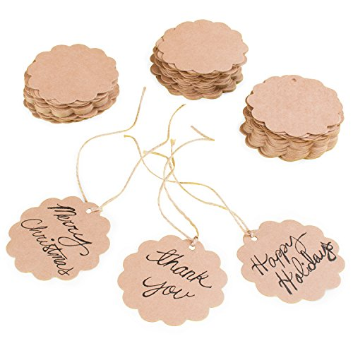 Brown Craft Scalloped Paper Labe...