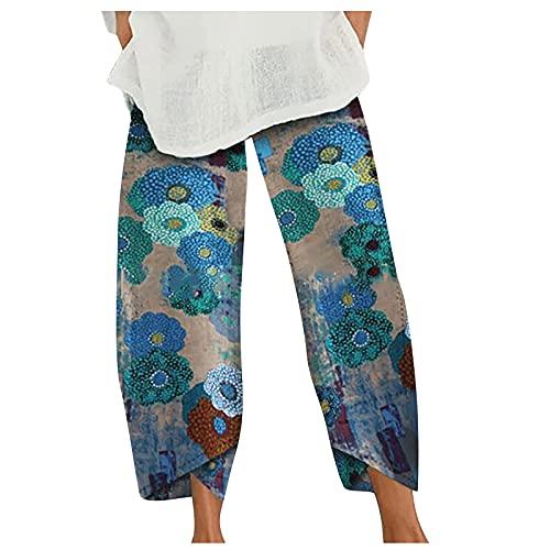 Pantaloni da Donna in Lino di Cotone Casual Vita Elastica Larghi