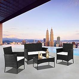 ARONTOME Ensemble de meubles de jardin en rotin noir, 2 fauteuils et 1 table basse en verre trempé