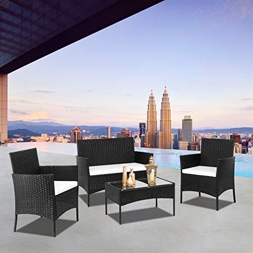 ARONTOME Muebles de jardín de ratán, Conjunto de sofá de ratán negro, 2 sillas de brazo, 1 pieza Love Seat, Mesa de centro de cristal templado