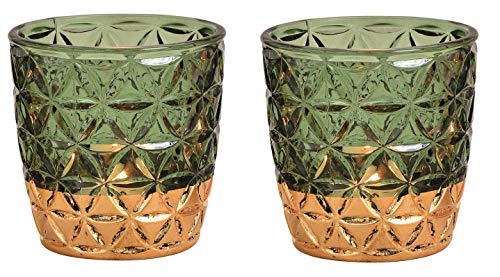 Schmucks HOME Windlicht aus Glas mit Goldrand, orientalische Teelichthalter im 2er Set, Windlicht mit Blattgold, Windlicht für Balkon und Terrasse, Geschenke für Frauen, Tischdeko, Gold (grün)