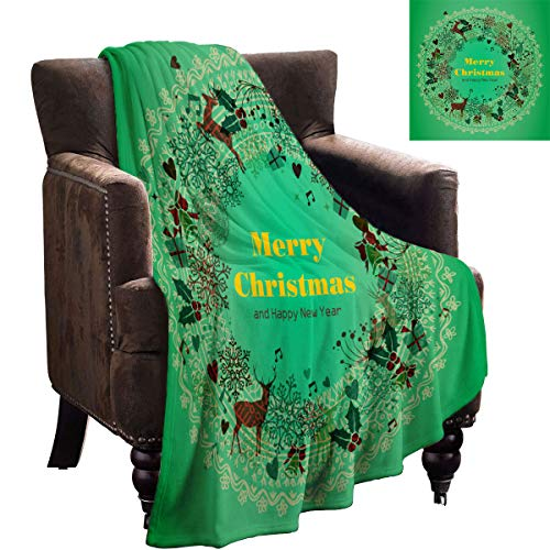 LanQiao Merry Christmas and Happy New Year Multiple Elements Composition Garland Vector Green Gradient Background Heavy Blanket 70'x60' Sofa Plush Blanket