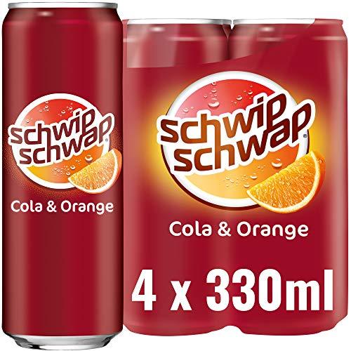 Schwip Schwap, Das Original – Koffeinhaltiges Cola-Erfrischungsgetränk mit Orange, EINWEG Dose (4 x 330 ml)