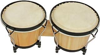 """Hippopy Bongo Drum Set,Bongo Drums Wooden Percussion Instrument Drum Set Including 5.5"""" & 6"""" Drums Natural Finish Children..."""