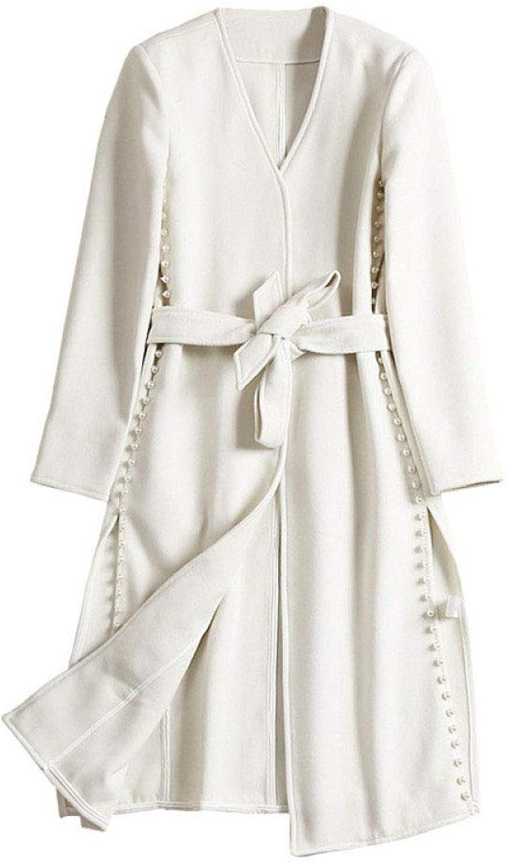 DFUCF Women's Beaded Split Woolen Coat with Belt Slim Coat Autumn Winter