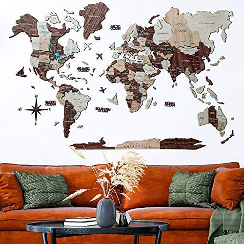 Home Decor 3D Wood World Map CAPPUCCINO color Wall Art. Large Wall Decor - World Travel Map All Sizes (M L XL XXL) Any Occasion Gift Idea - Wall Art For Home & Kitchen or Office
